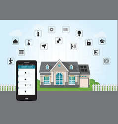 smart home with smart phone technology conceptual vector image