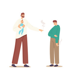 smoking father with newborn baon hands blaming vector image