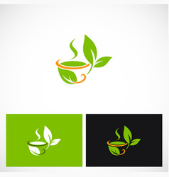 Tea cup green leaf logo vector