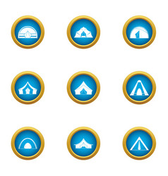 Tent city icons set flat style vector