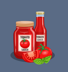 Tomato sauce bottle vector