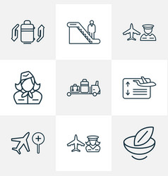 traveling icons line style set with flight board vector image