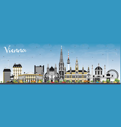 vienna austria city skyline with color buildings vector image