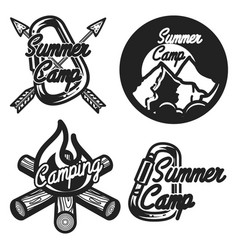 Vintage summer camp emblems vector