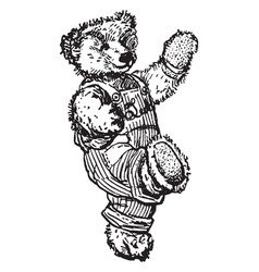 Walking bear vintage vector