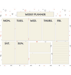 Weekly planner cute page for everyday plans and vector