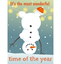 Winter postcard with funny snowman vector image