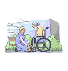 Woman helping older ones vector