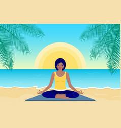 woman practice yoga vector image