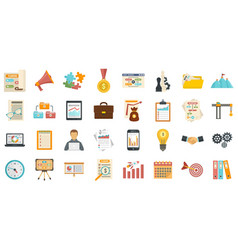 Workflow management icons set flat style vector