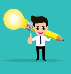 Business man get idea from his lightbulb pencil vector image vector image