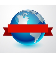 Earth globe with red ribbon vector image