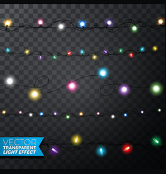glowing christmas lights realistic isolated design vector image