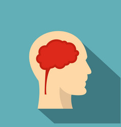 man head silhouette with brain inside icon vector image