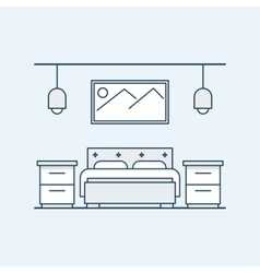 Modern design bedroom with a double bed and vector image