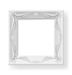 silver picture frame on white for design vector image