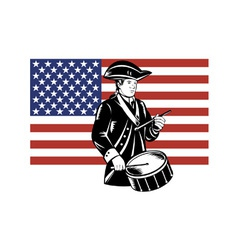 American Patriot Drummer Stars and Stripes Flag vector image