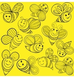bees for adult coloring page Hand drawn vector image vector image