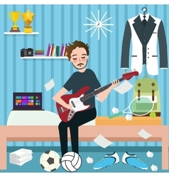 Boys man room holding guitar in dorm play music vector