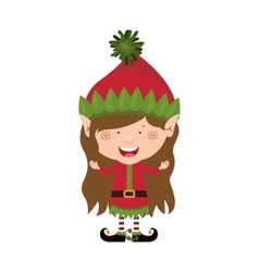 color image with christmas gnome girl vector image vector image