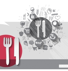 Hand drawn cutlery icons with food icons vector image vector image