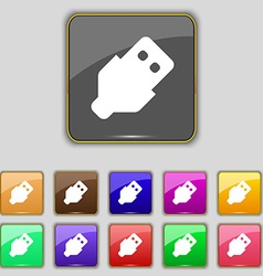USB icon sign Set with eleven colored buttons for vector image