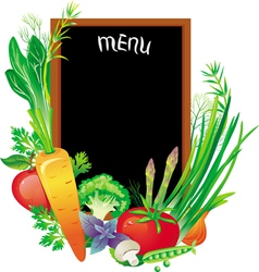 board menu with a group of vegetables vector image