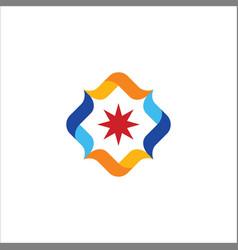 circle star colored logo vector image vector image