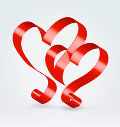Couple red ribbon hearts vector image
