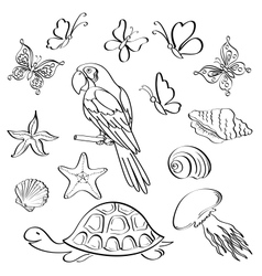 Exotic fauna outline set vector image vector image