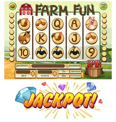 Game template with farm animals vector image