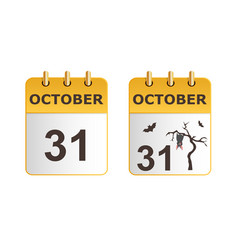 halloween on icons of calendar in different vector image vector image