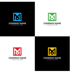 letter m in the square logo vector image