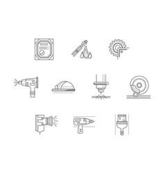metalworking flat line icons set vector image vector image