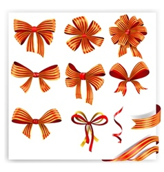 Set of red and gold gift bows with ribbons vector image