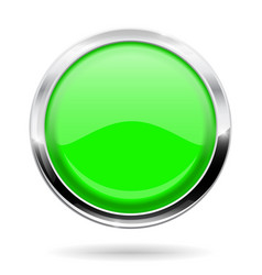 green round button web icon with chrome frame vector image