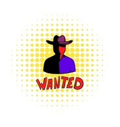 Vintage wanted poster icon comics style vector