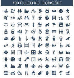 100 kid icons vector