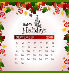 2019 september calendar design template of vector image