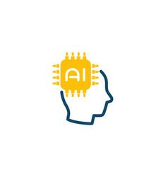 Ai tech icon chip and head vector