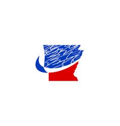 arkansas map logo vector image