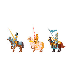 armored medieval knight or cavalryman sitting on vector image