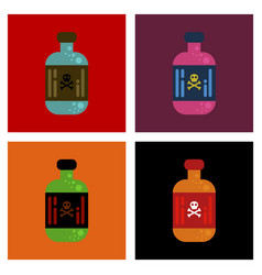Assembly flat icons potion in bottle vector