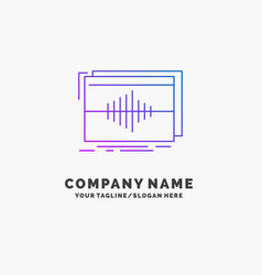 Audio frequency hertz sequence wave purple vector
