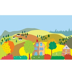 Autumn countryside landscape with trees houses vector