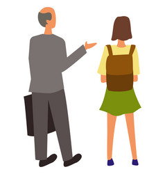 Bald grandfather and young girl backpack isolated vector