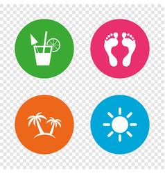 beach holidays icons cocktail human footprints vector image