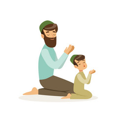 Bearded muslim man and his son praying to allah vector