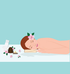 beautiful young woman in spa vector image