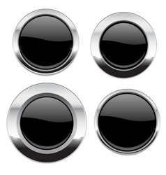 black buttons with chrome frame round glass shiny vector image